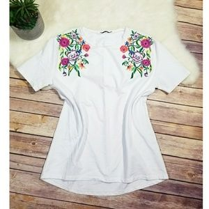 Zara White Floral Print Top